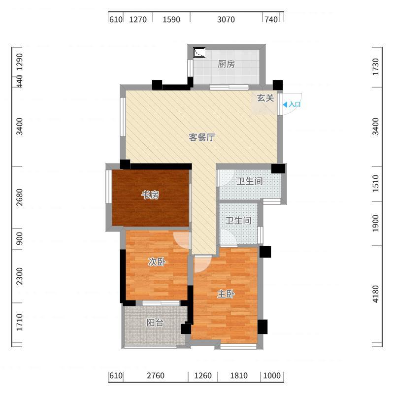 滨海・橙里83.00㎡1#户型3室3厅2卫1厨户型图