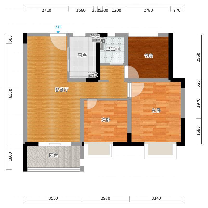 新城・虞悦豪庭88m²陆先生户型图