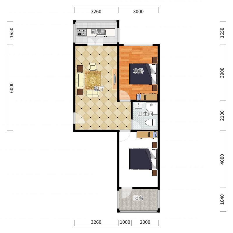 天众园1-3-501户型图
