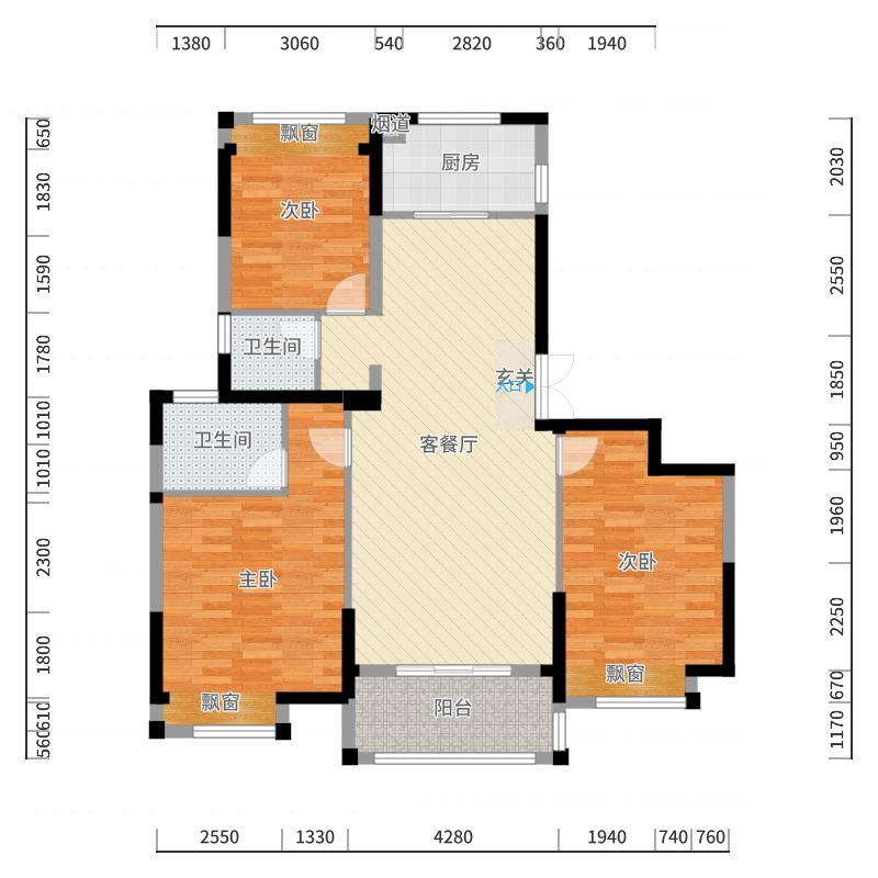 湖山香颂湾143.00㎡户型3室3厅3卫1厨户型图