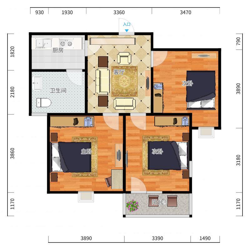 伊顿玫瑰公寓4-1-2902户型图