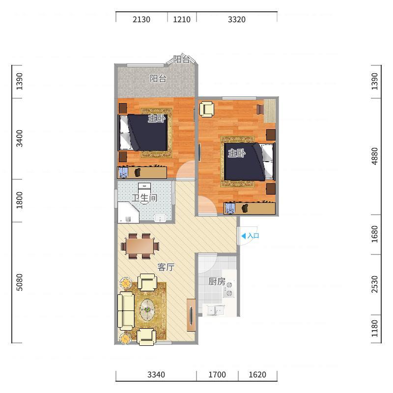 潼港三村11-601户型图