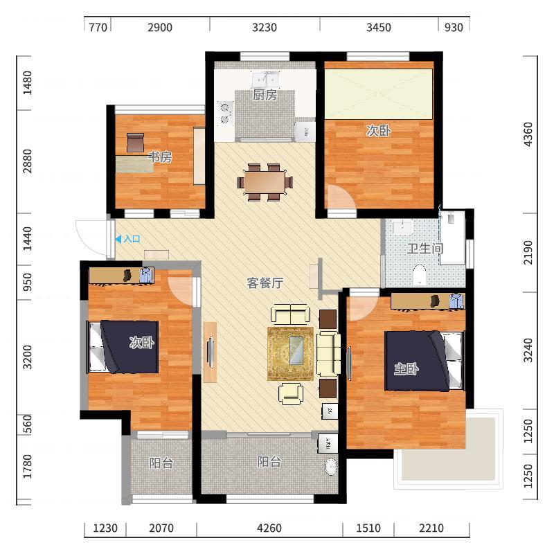 绿地世纪城114.65㎡户型3室1厅1卫1厨户型图