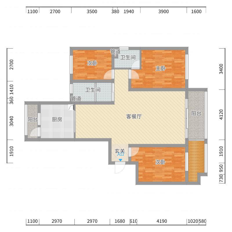 /市直三区150(浅色中式风格)户型图