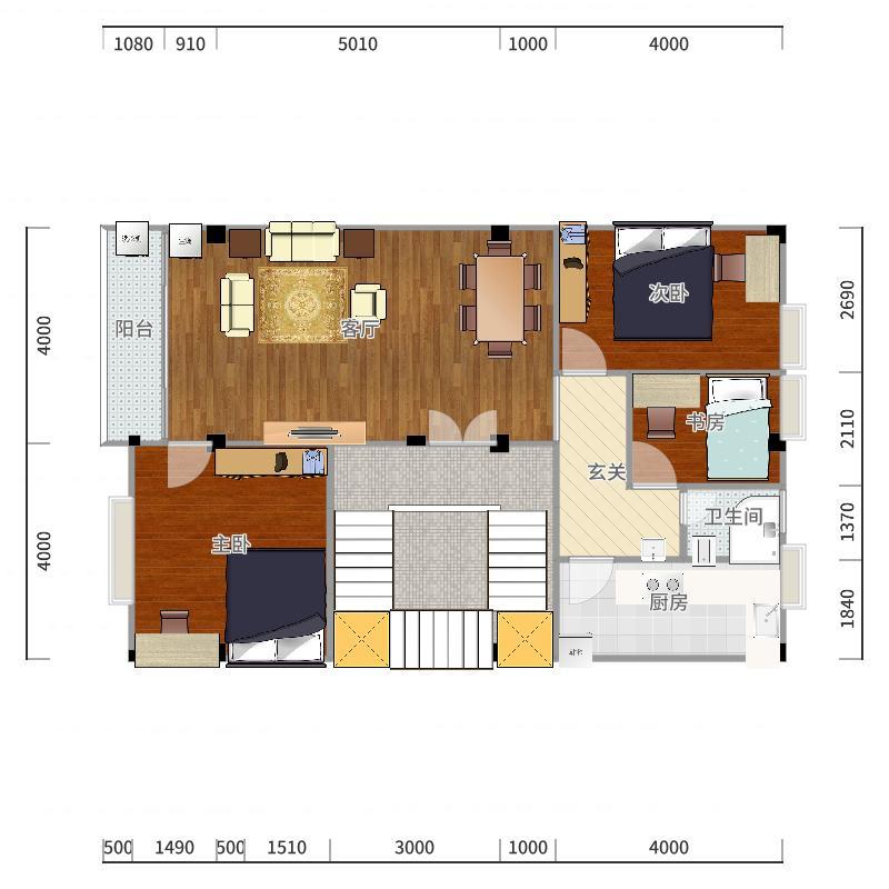 三房二厅+一房为书房加次卧-副本户型图
