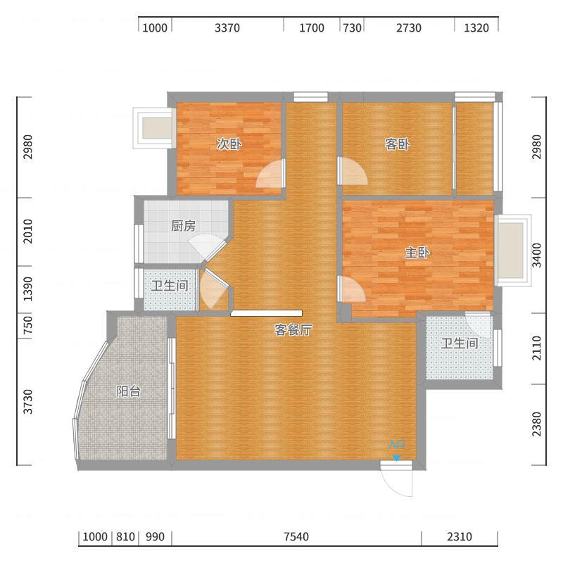 鸿正苑A-1101 陈姐平面方案-副本-副本户型图