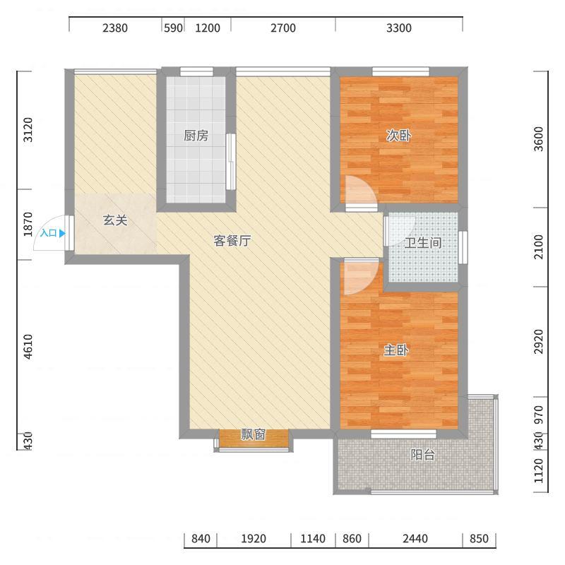 龙廷山水・东方�园11.72㎡e1e户型2室2厅1卫-副本户型图
