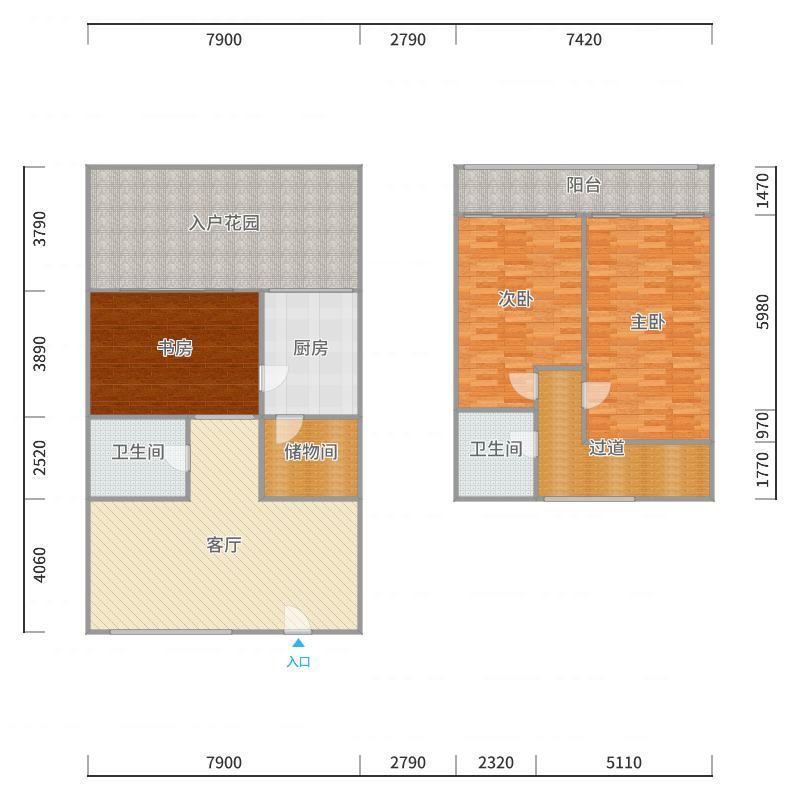3室1厅2卫 176.78平米 东户型图