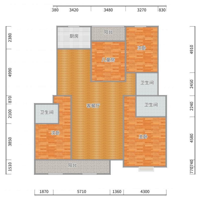 南湖公馆4室189.35户型图