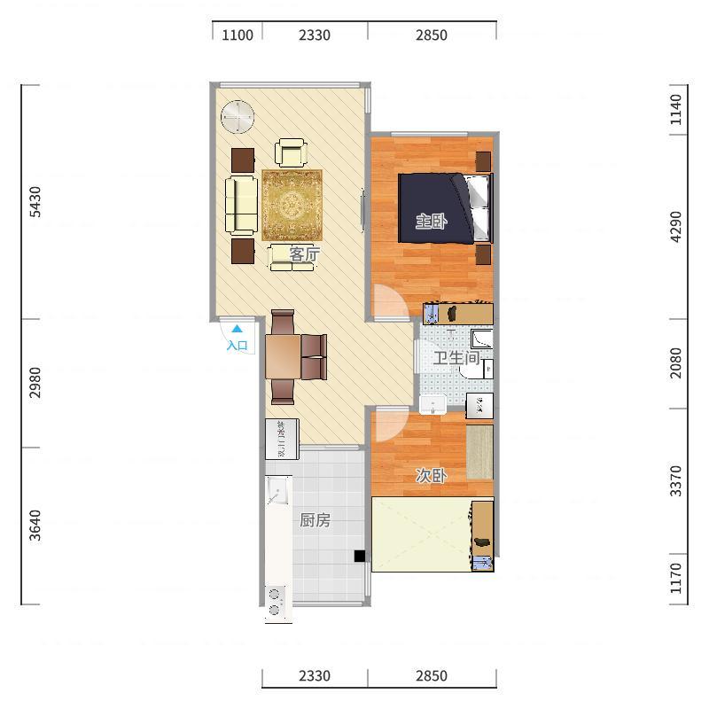 22号楼2单元202室户型图