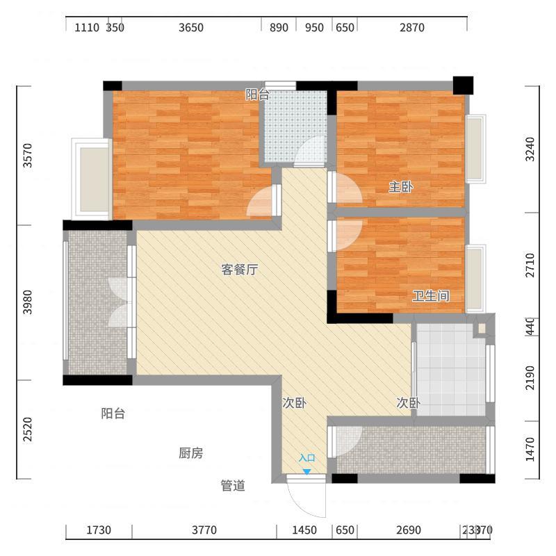 红星国际112.00㎡一期B户型3室2厅1卫1厨户型图