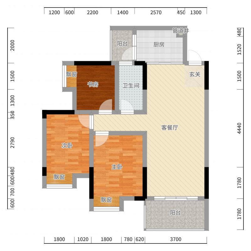 江与城85.82㎡B1户型3室2厅1卫1厨-副本户型图