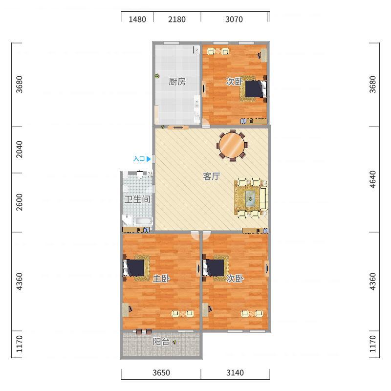 高工小区76.09平方户型图