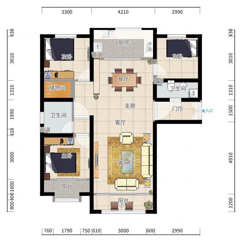 西宁市-海湖星城-设计方案户型图