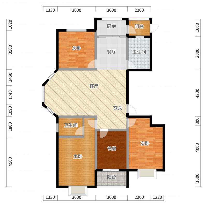 五洲国际官邸125.55㎡户型4室2厅2卫-副本户型图