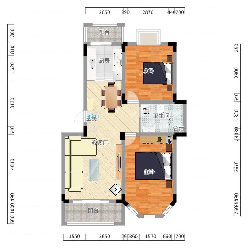 博威・江南明珠苑91.28㎡A2户型2室2厅1卫1厨户型图