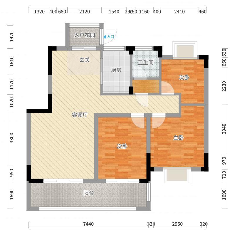 中南锦尚名苑103.70㎡洋房户型2室2厅1卫1厨-副本户型图