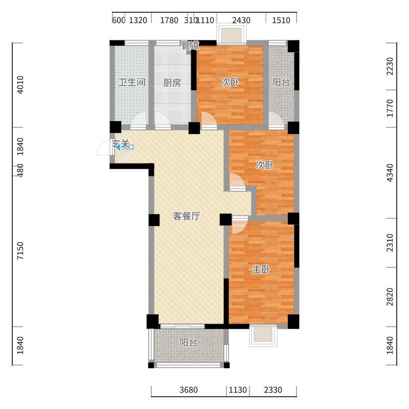 东城E-house124.12㎡一期高层D户型3室3厅1卫户型图