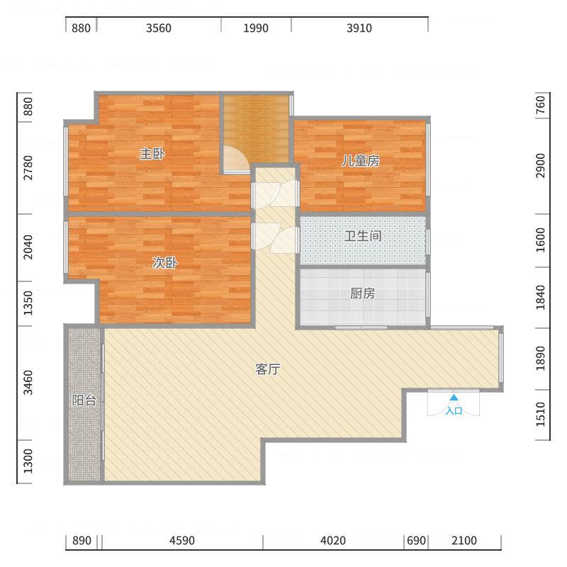 竹林居2-4-501户型图