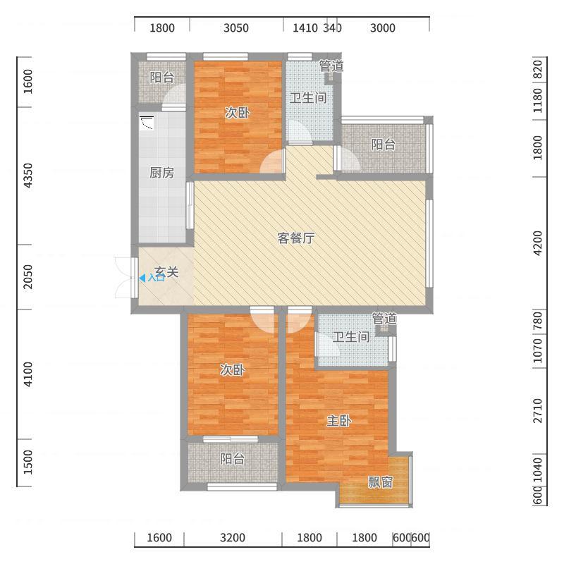 凰家公元136.00㎡E户型3室3厅2卫1厨户型图
