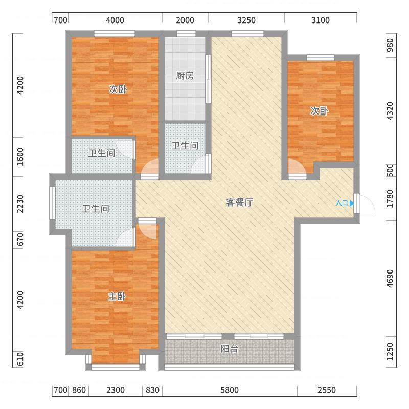 天阳御珑湾户型图3号楼E户型 3室2厅3卫1厨-副本户型图