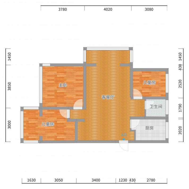 信华城94方三室两厅户型图