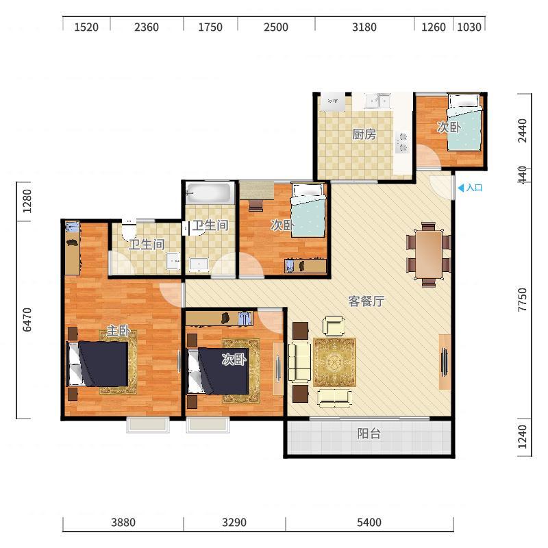1020+韦银燕+第4套+文德福花园+S2392791户型图