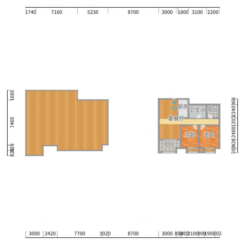 B1两室两厅1卫-副本户型图