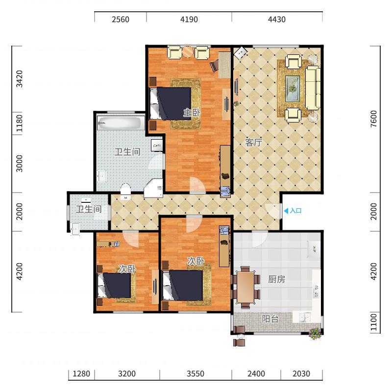 滨海大区-伴景湾8-4-1702户型图户型图