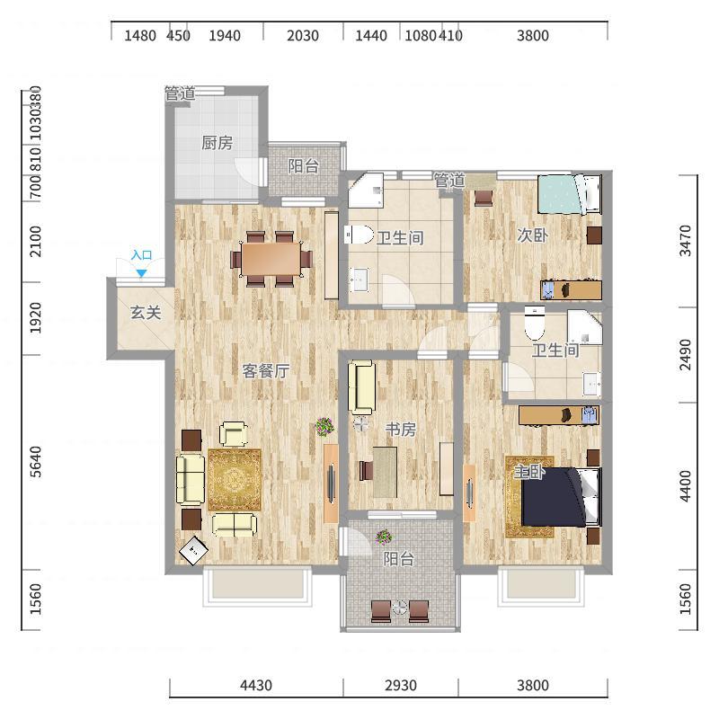 中海水岸春城中海水岸春城2室2厅1卫1厨户型2室2厅1卫1厨户型图