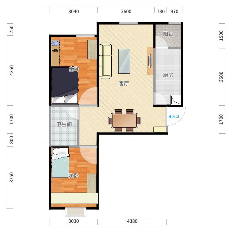 两室两厅一卫84.87平米装修设计方案户型图