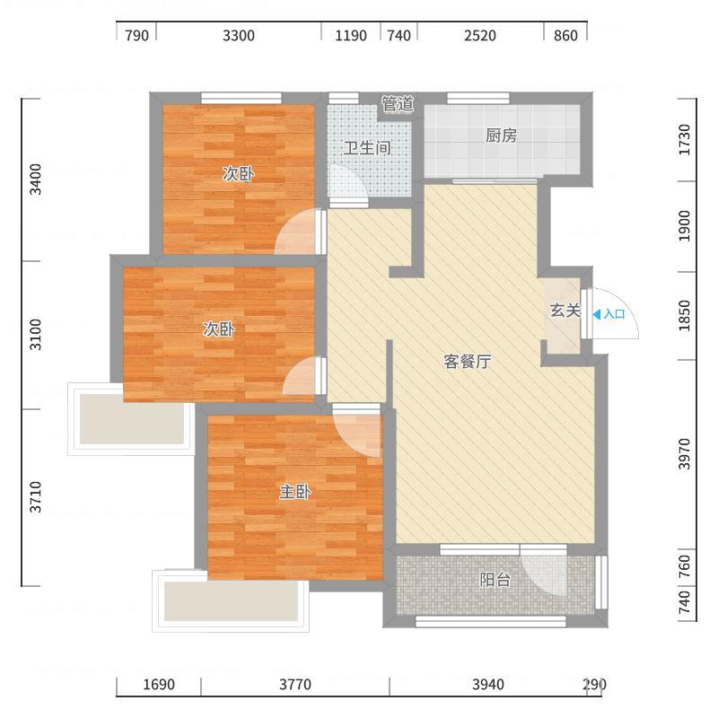 福根美林97.00㎡D户型3室3厅1卫1厨-副本户型图