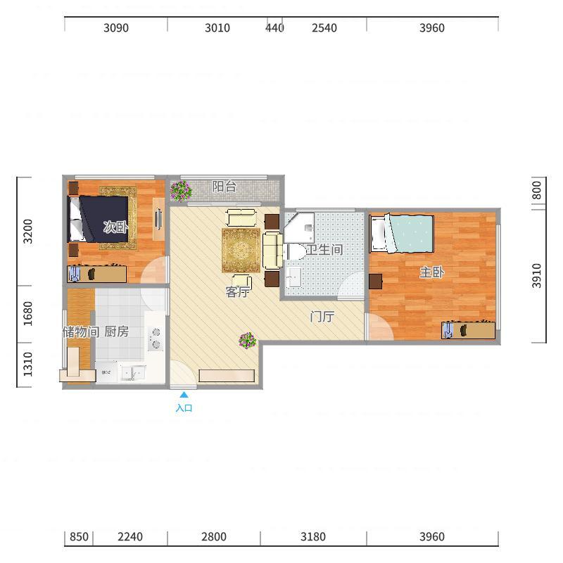 北辰福第两居室户型图