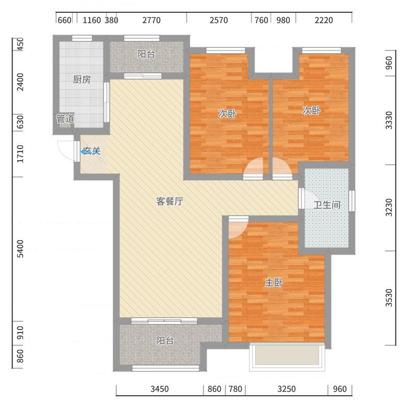 绿地与湖112.00㎡2号楼户型3室3厅1卫1厨户型图