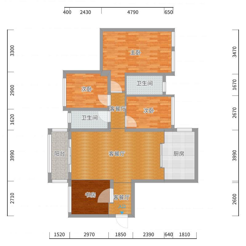 奥园广场15栋2404室-地中海风格-副本户型图