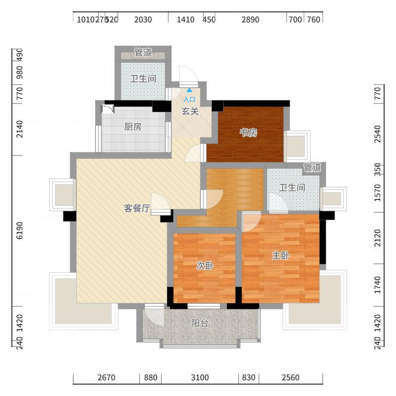 桂鑫园114.70㎡G4-3户型3室2厅2卫1厨-副本户型图