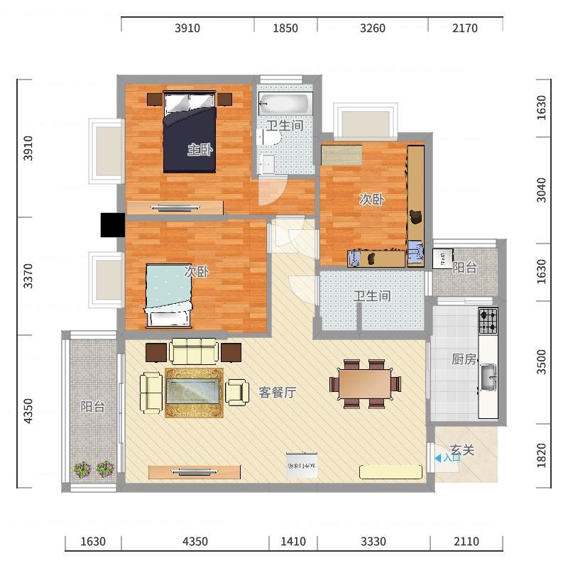 惠丰瑞城152121.78㎡二期15栋G2户型3室2厅2卫1厨户型图