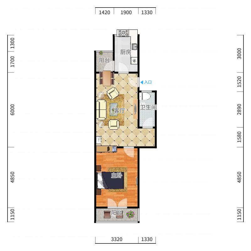 南大区-三元公寓7-4-401户型图