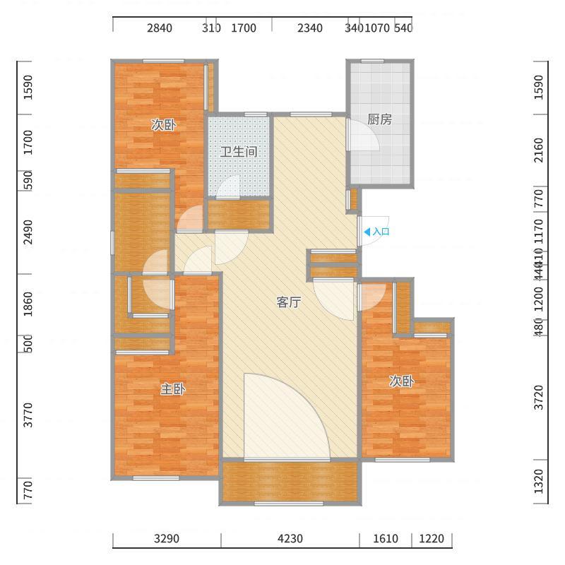 翰澜苑三室两厅两卫141户型图