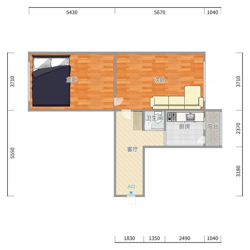 花园街207号1单元303户型图