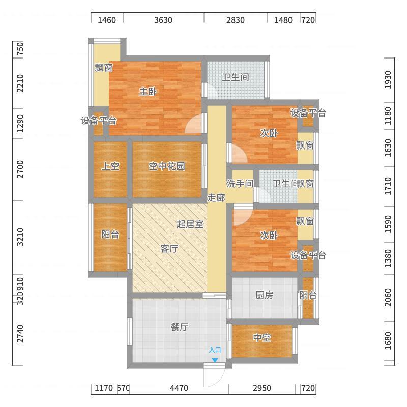 勤诚达新界122.74㎡D-7户型3室2厅2卫-副本户型图