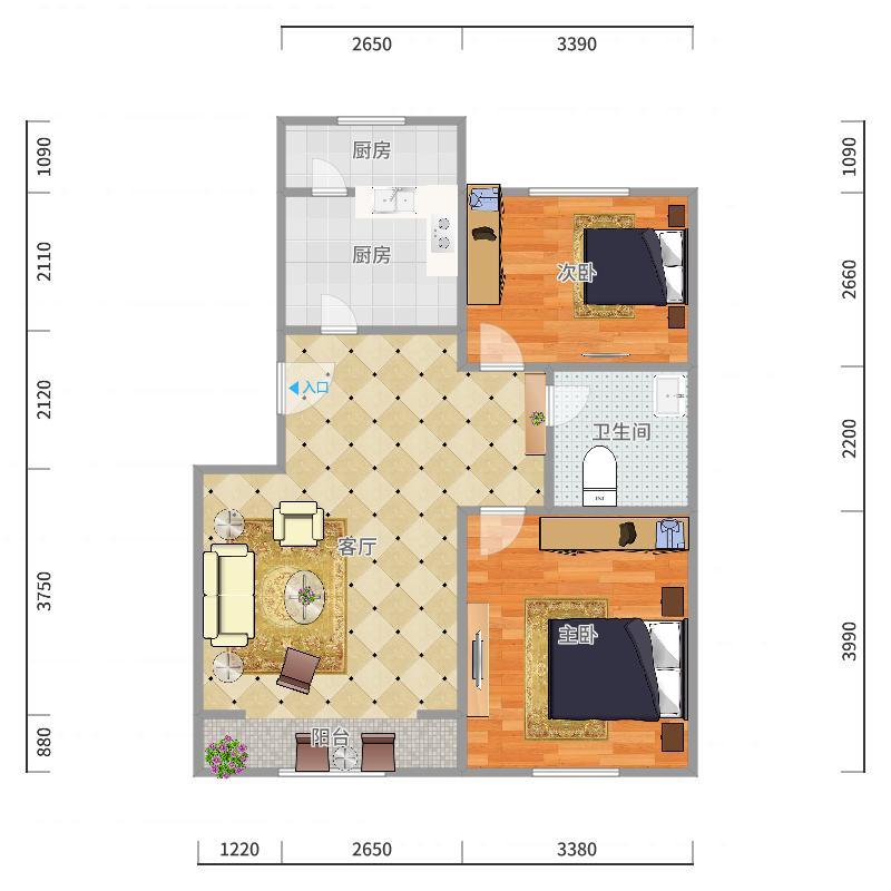 东大区名居花园西区11-2-602户型图