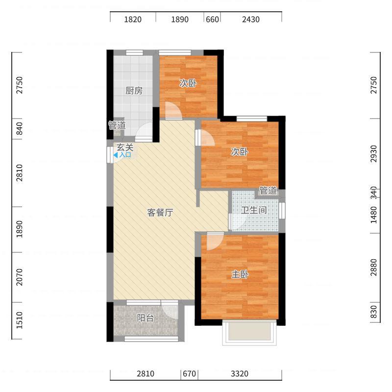 金地格林小城88.50㎡一期B2户型3室2厅1卫1厨户型图