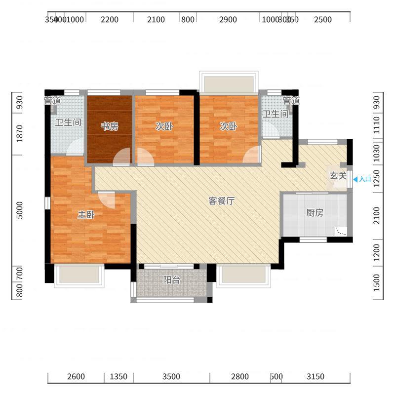 万科城110.00㎡B户型4室4厅2卫1厨户型图