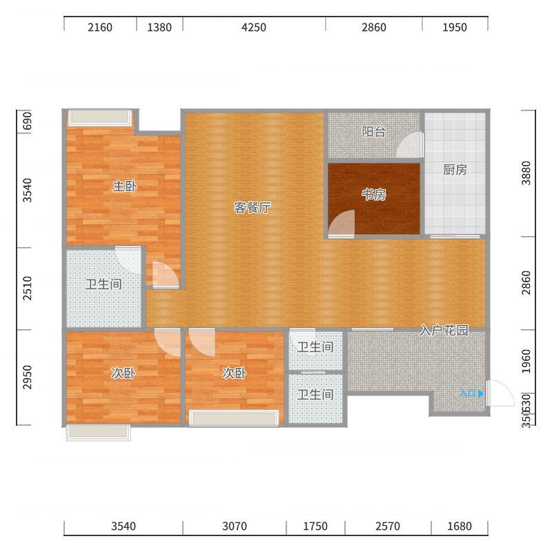 荣县金河湾B2四室两厅双卫户型图146.16m²户型图