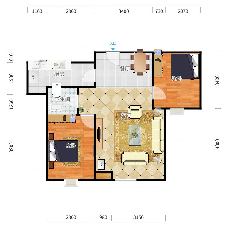 滨海南区-远洋城滨悦花园13-1-403户型图户型图