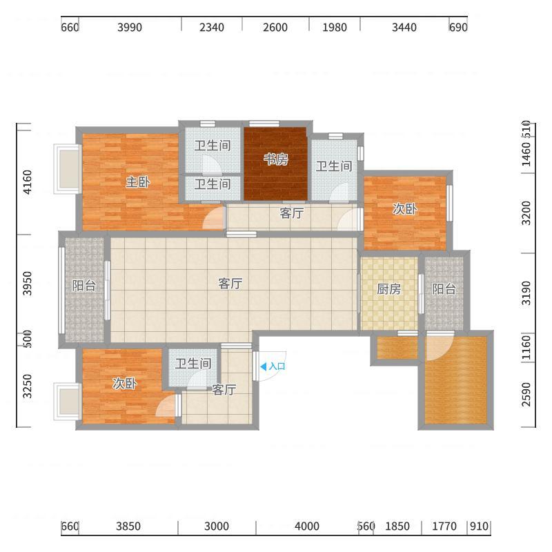 凯旋门10#2606室,168平(现代轻奢美式)60万户型图