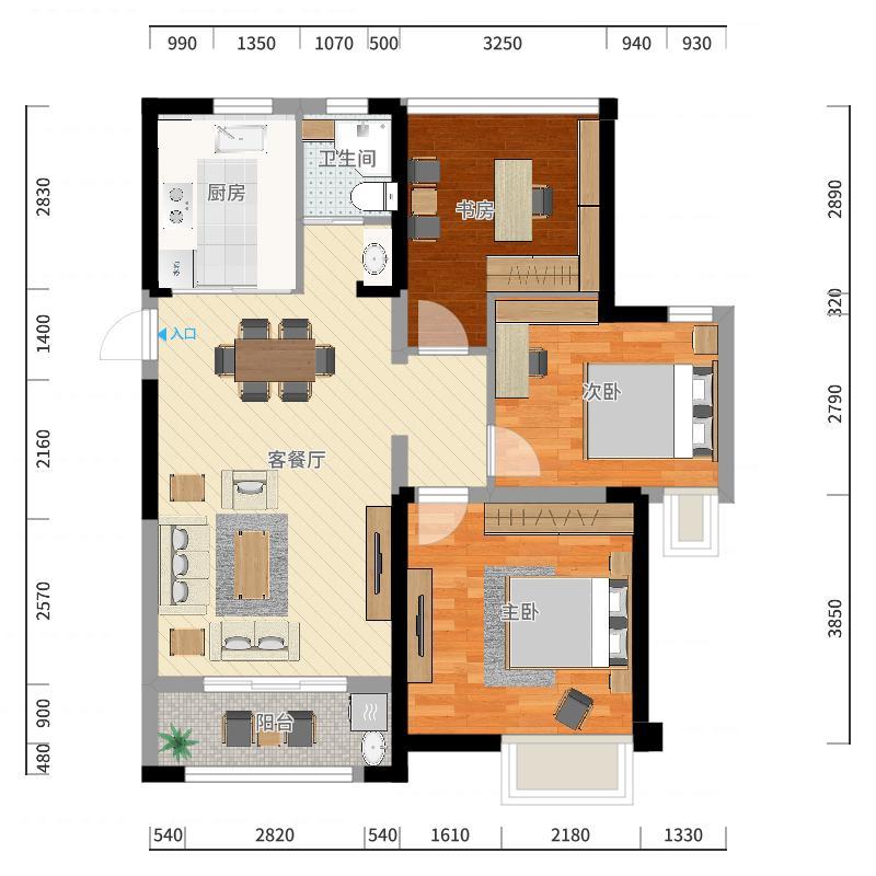 中南锦苑B2-88平-3室-副本户型图