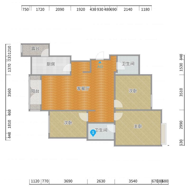 恒大 13号楼中单元01户  4户型图