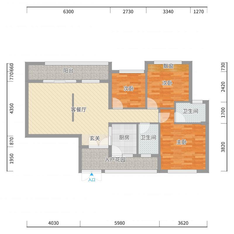 昆明路世贸城11.53㎡【5栋6栋】A户型3室2厅2卫1厨-副本户型图